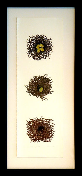 Nest - Nest Egg - Empty Nest, 2011: Ink, pencil crayon, and bank statement on paper. $675