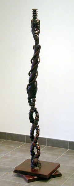 The DNA Man: Denis Chapados, 2007 - Wood, stain, paint; Carved. $3,800