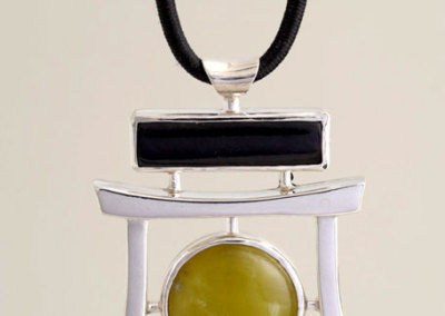 Winston Quan, Jade Pendant, 2011 - sterling silver, black jade; casting, fabrication, lapidary for black jade