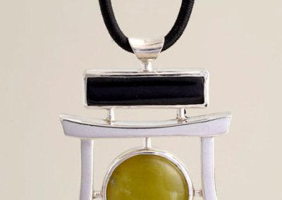 Winston Quan, Jade Pendant, 2011 - sterling silver, black jade; casting, fabrication, lapidary for black jade