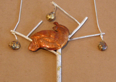 Partridge in a Pear Tree, Gail Daggett, 2011, Sterling silver, 23.5k gold foil, copper & liver of sulphur