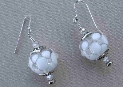 Crystal Ice, 2010 - Sandra Kuntz - Lampwork glass beads, sterling silver, findings, $250 (set)