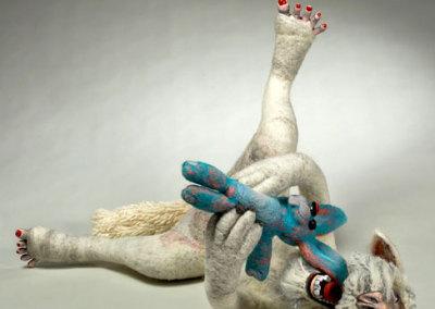 Laura Kinzel: DOG-MA - Laura Rudy Pleasure Bunny Hybrid, 2013. Felt & mixed media sculpture, $1,500 NFS.