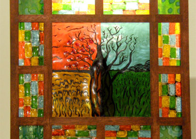 Tree of the Four Seasons (Toby Cote), 2012: Fused glass, paint, mahogany. $450