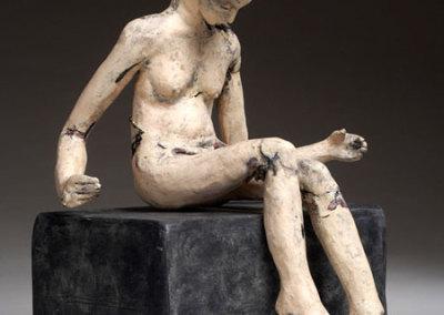 Anita Rocamora, Repose, 2011 - clay, metal, glaze; hand built