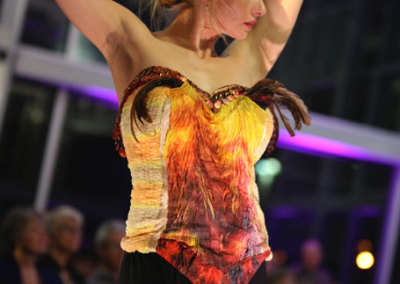 Feather Corset (Sharon Cahn), 2013: Polyester silky, feathers; ruching, hand painted silk. $350