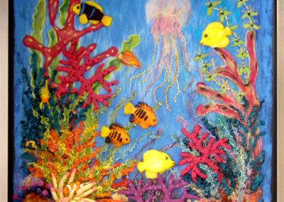 Elizabeth A. Muirhead, Coral Reef: Merino Romney, Shetland wool, Alpaca, Bluefaced Leicester Curly locks, Mohair curly locks, wire, yarn, nylon, wool felt; needle felting. 2011, $2,200.