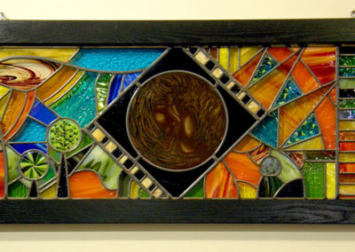 Love & Like (Kimberly Dickinson), 2012: Stained glass, paint, fused glass, lead. NFS