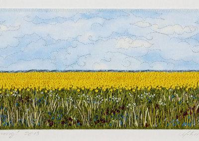 Monika Kinner-Whalen: She's Blooming! 2013. Framed textile, $1,350.