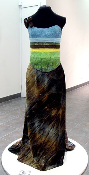 A Prairie Dress: Monika Kinner-Whalen, 2011 - Threads, fabric, batting, beads, sequins, angelina fibres, metallic and decorative fibres; Dress making, quilting, thread painting, appliqué, embroidery. NFS $2,000