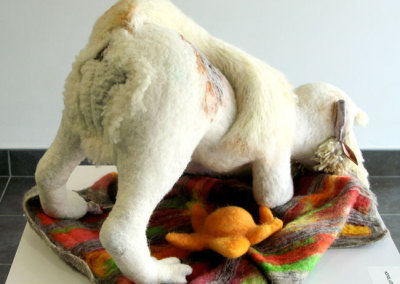 DOG-MA: Laura Rudy Butt Jesus Hybrid (Laura Kinzel), 2012: Needle felted wool, polymer clay. NFS