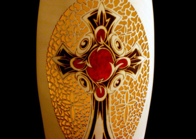 Hollow Vase with Pyrography and piercing