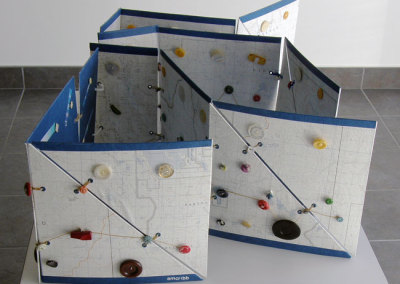 Family Connections (Marigold Cribb), 1998: Board, maps, buttons. $100