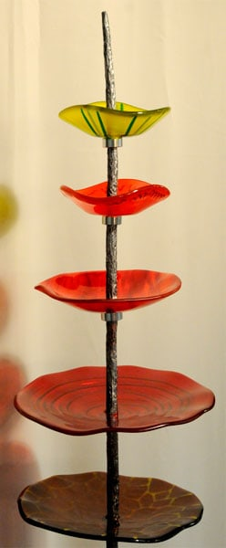 Abstract Tree (Elisabeth Miller), 2012: Sheet glass, frit, stringer, metal, stone. $3,500