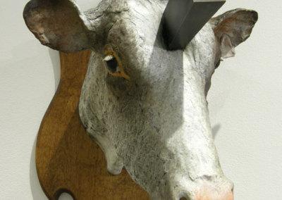 Joe Fafard & Mike Hosaluk: Wedge Hunting on Joe's Farm (Trophy Cow) - 2013, Bronze, wood. $10,000