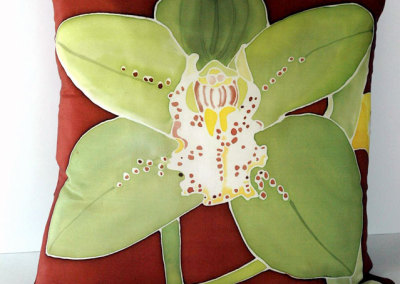 Green Cymbidium Orchid Pillow