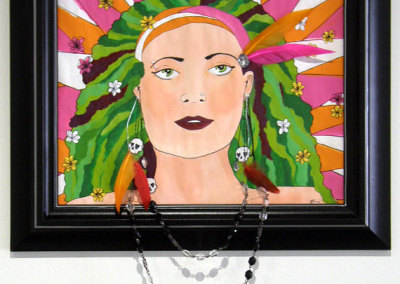 Shinaid McGillivray, Live Free, Die Young: Acrylic paints, feathers, beads, gems; painting. 2013, NFS.