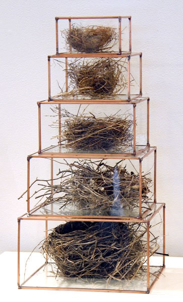 Maslow's Hierarchy of Needs, 2011: Glass, copper, lead and bird nests. NFS $1,500