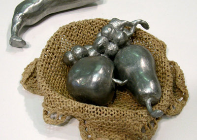 Sustenance: B.A. Conly, 2009 - Wax, aluminum, crocheted dish cloth, wheat paste; Lost wax aluminum casting. $360