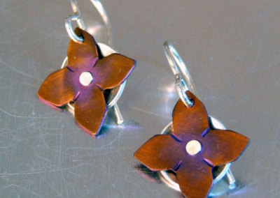 Ti Rivet Flower Earrings: Melody Armstrong, Sterling Silver, Anodized Titanium