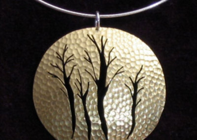 Athshe Trees Pendant: Jill Nicholson, Brass, Wood, Sterling Silver