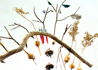 Emerging: Juliane Deubner, 2011 - Branches, dried plants, seed pods, pine cones, sculpty, fishing line. $180