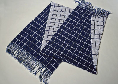 Judy Haraldson: Tracery, 2013. Handwoven double weave Shawl, $350.