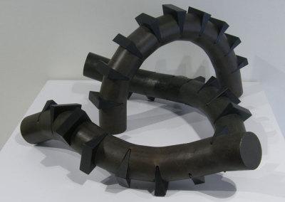 Hosaluk (collaboration with Al Bakke): Wedge Worms - 2013, Steel, wood. $1,200 each