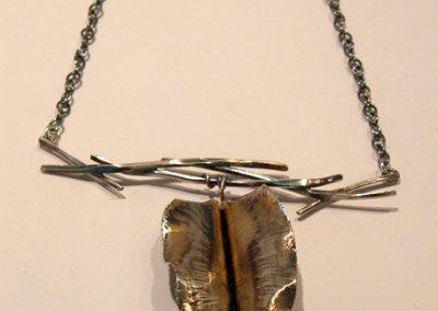 Forge & Fold Formed Single Leaf Neckpiece, Megan J. Hazel, 2011, Sterling silver