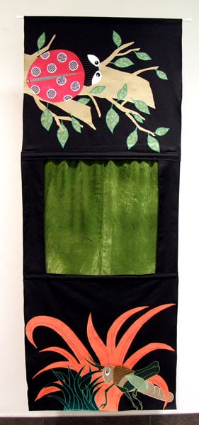 Ladybug and Grasshopper: Allison Brandt Malinski, 2011 - Cotton, polyester, reclaimed materials, polyester thread, wood; Appliqué, machine stitching. $150