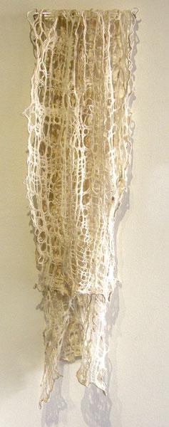 Gwen Klypak, Cobweb: Silk, Merino wool; hand woven, wet felted, embroidery. 2013, $600.