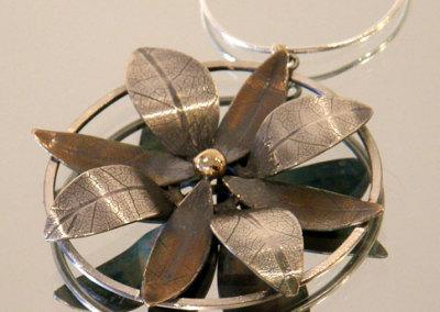 Bloom Pendant #1, Megan J. Hazel, 2011, Sterling silver & 14k gold