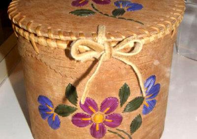 Lidded Circular Birch Bark Basket - Mary Kotchea