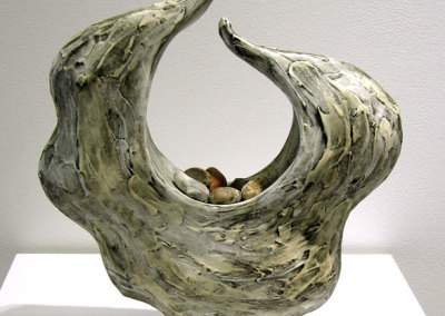 From the Swell (Paula Cooley), 2013: Clay, slip, glaze, stones; hand built. $700