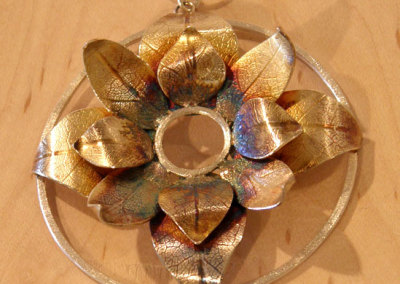 Bloom Pendant #2, Megan J. Hazel, 2011, Sterling silver & 14k gold