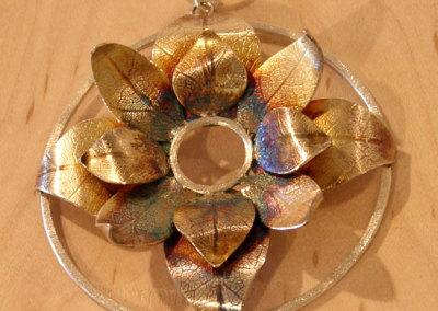 Bloom Pendant #2, Megan J. Hazel, 2011, Sterling silver & 14k gold
