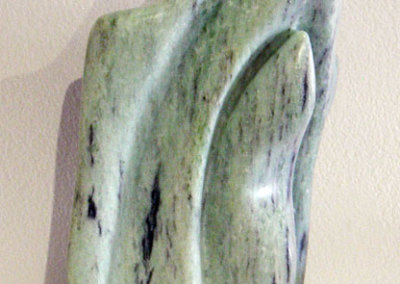 Michelle Isbister McGilp, Unfolding Embrace: Soapstone, oil, wax; carving, sanding. 2013, $300.