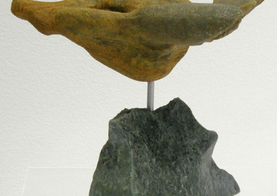 Aery (Paula Cooley), 2013: Soap stone, steel; carved. $1,500