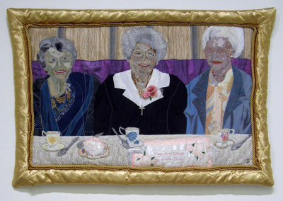 Celebrating Sisters (June J. Jacobs), 1997: Fabric, found objects; Appliqué, embroidery. $600