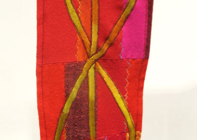 Red Spirit Stole (Cindy Hoppe), 2010: Recycled over dyed wool with machine embroidery. $500