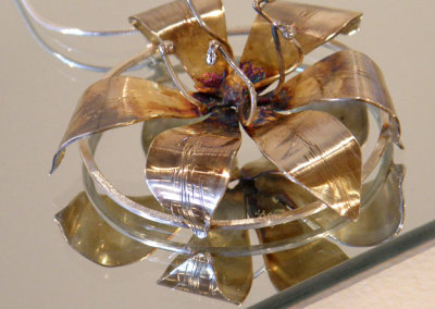 Bloom Pendant #3, Megan J. Hazel, 2011, Sterling silver & 14k gold
