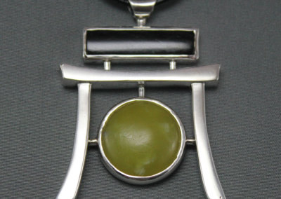 Winston's Pendant (Winston Quan) 2011: Sterling silver, black jade; casting, fabrication, lapidary. NFS.