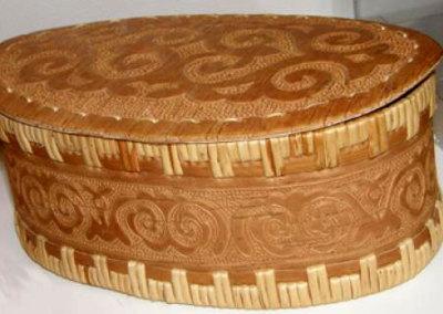 Round Lidded Birch Bark Basket - Yuri Aktanko