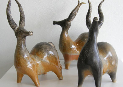 Stag Line (Paula Cooley), 2013: Clay, glaze. $250 each