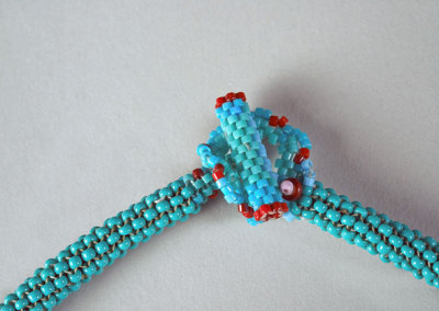 Oriol Dancer: Earth and Sky Necklace, 2012. Loom beaded necklace, $400.