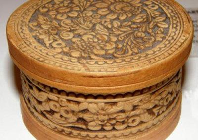 Round Lidded Birch Bark Basket - Artist Unknown