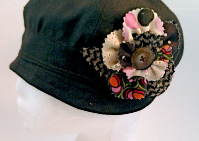 Ladies Cloche Hat - Chocolate Linen with Rag Flower