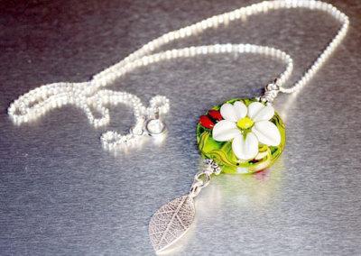 Lampwork Bead Leaf Pendant