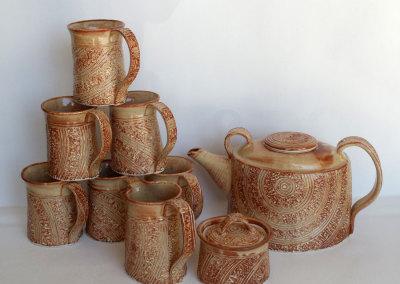 Tea Set-hand built and assembled of textured porcelain slab. Glazed.