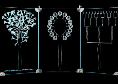Ken Vickerson, Sold on Promise Triptych: (L to R) Fork Fall, GM Sunflower, Trickle Down Laser etched glass, sterling silver. 73.5x20x40.1cm, 2012.